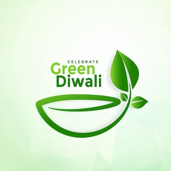 Szczęśliwego diwali eco diya kreatywnie zielony tło