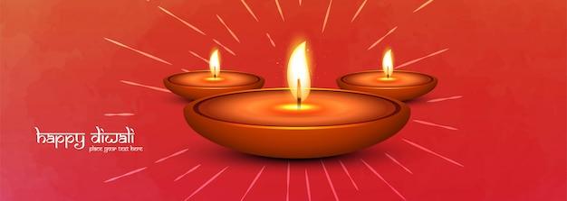Szczęśliwego diwali i iluminowanej lampy naftowej baner społecznościowy