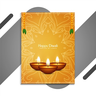 Szczęśliwego diwali tradycyjnego festiwalu klasyczna broszura