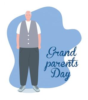 Szczęśliwego dnia babci z uroczym dziadkiem