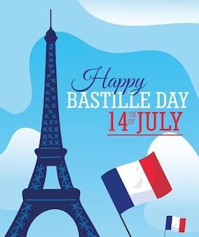 Szczęśliwego dnia bastylii wieża eiffla i flaga