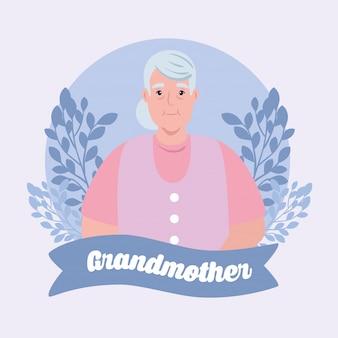 Szczęśliwego dnia dziadków z uroczą babcią i dekoracją liści