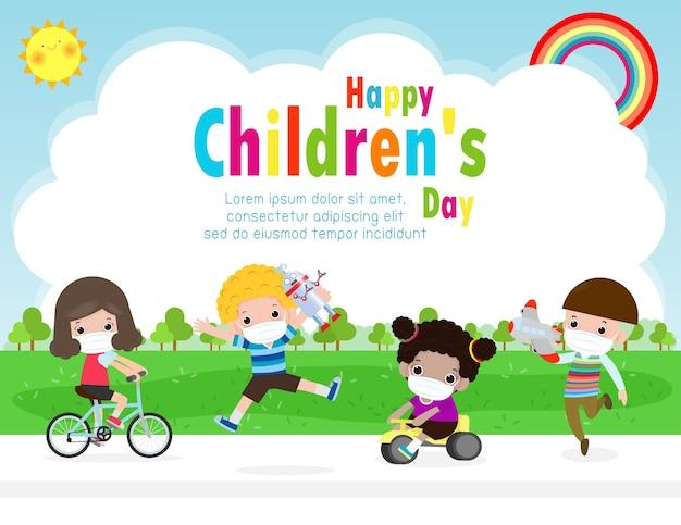 Szczęśliwego dnia dziecka dla nowej koncepcji normalnego stylu życia szablon broszury reklamowej lub ulotki z plakatem, grupa uroczych dzieci w chirurgicznej masce ochronnej medyczna maska zapobiegająca koronawirusowi lub covid-19