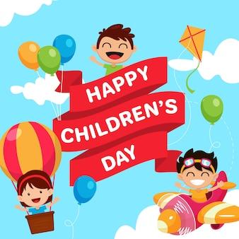 Szczęśliwego dnia dziecka plakat tło