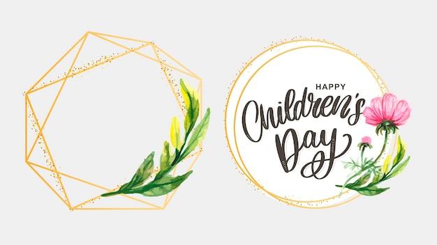 Szczęśliwego dnia dziecka, urocza kartka z życzeniami z zabawnymi literami w skandynawskim stylu i kreskówkowym krajobrazie