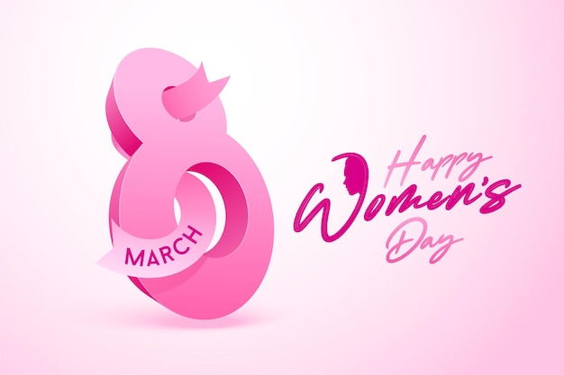 Szczęśliwego dnia kobiet. 3d osiem różowy tekst z różową wstążką.