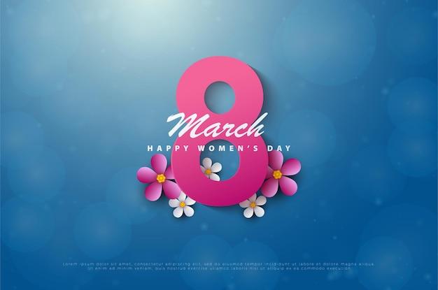 Szczęśliwego dnia kobiet 8 marca z różowym numerem.