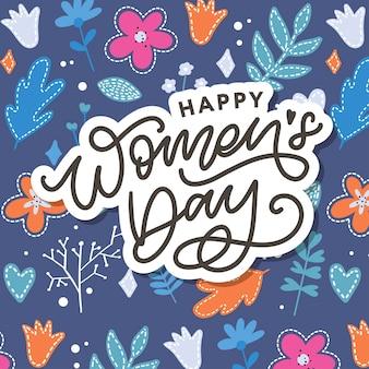 Szczęśliwego Dnia Kobiet Odręczny Napis. Premium Wektorów