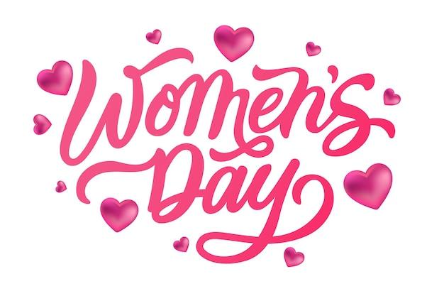 Szczęśliwego dnia kobiet piękna czcionka kaligrafii z sercami