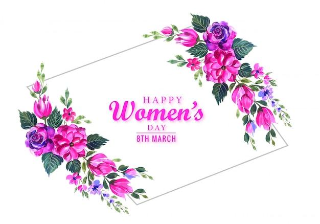 Szczęśliwego dnia kobiet piękny kwiat karta tło