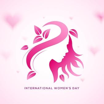 Szczęśliwego dnia kobiet. różowa gradientowa twarz z liśćmi i włosami.