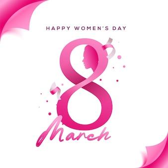 Szczęśliwego dnia kobiet. twarz dziewczyny wycinana z papieru z różową ósemką i wstążkami.