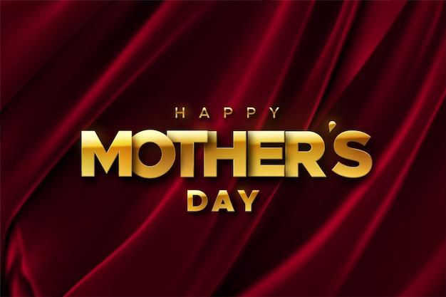Szczęśliwego dnia matki. ilustracja wakacje złotej etykiety na tle czerwonego aksamitu tkaniny. realistyczny baner 3d. kocham cię mamo.