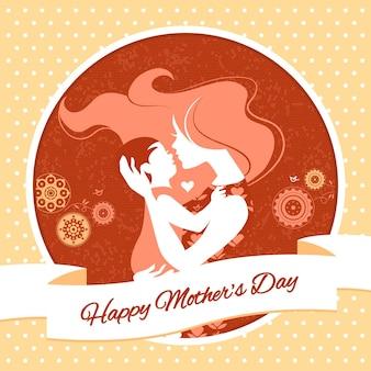 Szczęśliwego dnia matki. kartka z piękną sylwetką mamy i dziecka w stylu vintage