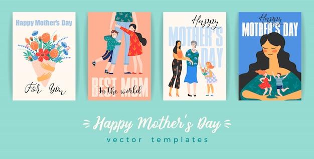 Szczęśliwego dnia matki. kartka z życzeniami z kobietami i dziećmi.