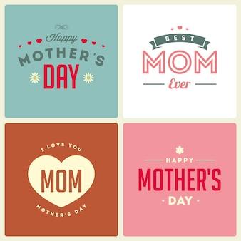 Szczęśliwego dnia matki. retro ulotki, banery, plakaty.