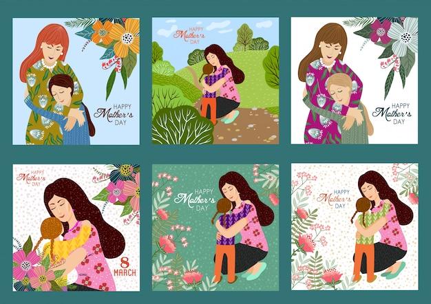 Szczęśliwego dnia matki. vector set szablony z matką i dzieckiem