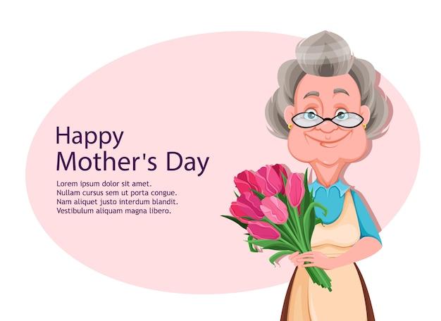 Szczęśliwego dnia matki. wesoła babcia
