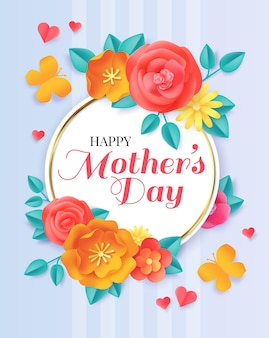 Szczęśliwego dnia matki. wiosenne wycinane kwiaty i motyle. kartkę z życzeniami na obchody macierzyństwa z papierowym kwiatowym bukietem transparent wektor. wakacyjna matka origami, wyciąć papierową kwiecistą ilustrację