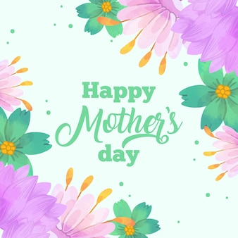 Szczęśliwego dnia matki z kwiatami