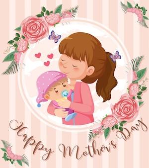 Szczęśliwego dnia matki z mamą i dzieckiem