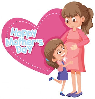 Szczęśliwego dnia matki z mamą i dziewczynką