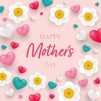 Szczęśliwego dnia matki z realistycznymi sercami 3d i kwiatem