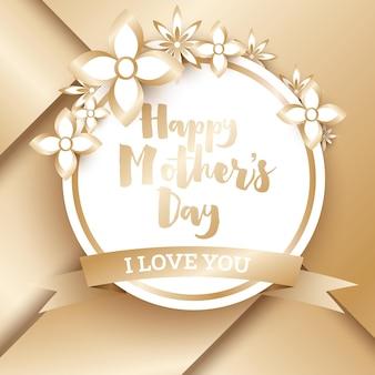 Szczęśliwego dnia matki. złoty kartkę z życzeniami z geometrycznym tłem i kwiatami. ilustracja wektorowa.