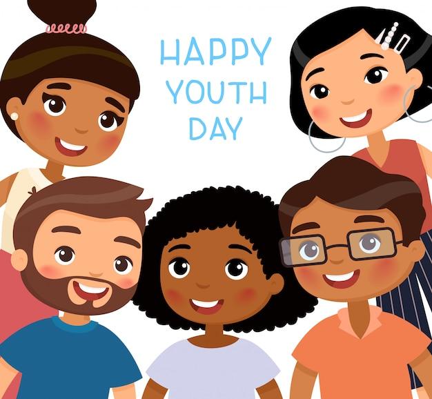 Szczęśliwego dnia młodzieży. międzynarodowa koncepcja wakacji. wielokulturowe młode dziewczyny i młodzi chłopcy przyjaciele. zabawna postać z kreskówki. ilustracja, na białym tle
