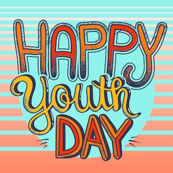 Szczęśliwego dnia młodzieży ozdobny typografii tło