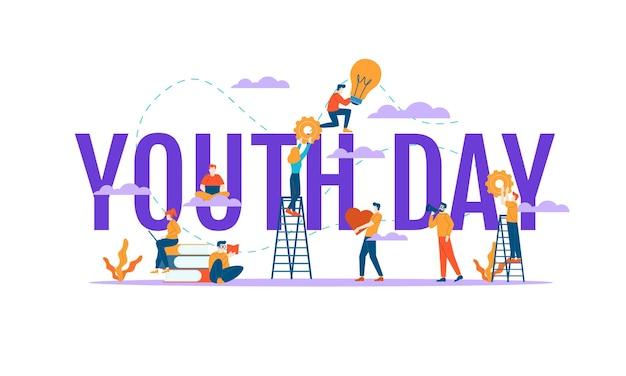 Szczęśliwego dnia młodzieży wielkie słowo z małymi ludźmi