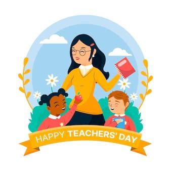 Szczęśliwego dnia nauczyciela z nauczycielką i dziećmi
