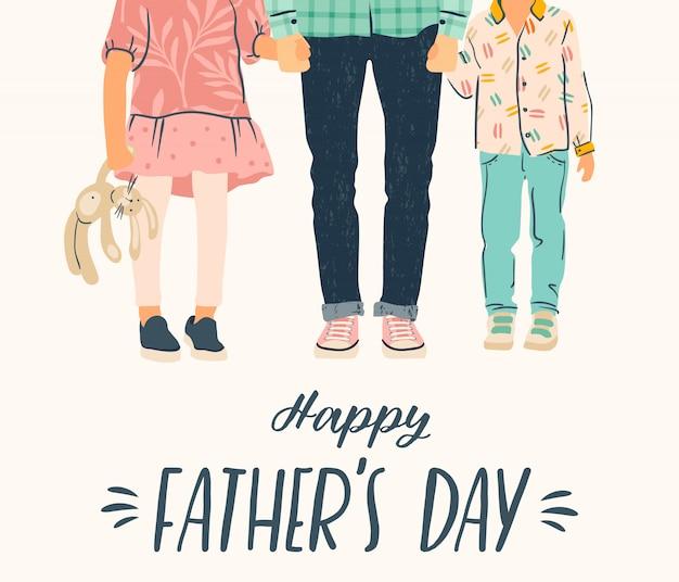 Szczęśliwego dnia ojca. ilustracja. mężczyzna trzyma rękę dzieci.