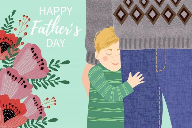Szczęśliwego dnia ojca, mój tata jest najlepszy. śliczna rodzinna ilustracja. ręka rysunek tata i dziecko ściska jego nogi