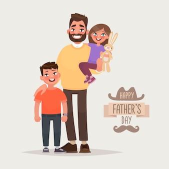 Szczęśliwego dnia ojca. ojciec z synem i córką. kartka z życzeniami. ilustracja wektorowa w stylu cartoon