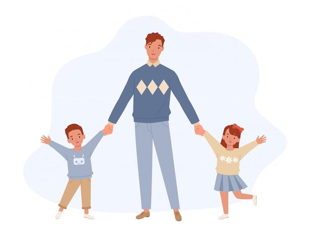 Szczęśliwego dnia ojca. tata, syn i córka, trzymając się za ręce. ojciec i jego dzieci dobrze się bawią razem. szczęśliwa rodzina. ilustracja w stylu płaskiej
