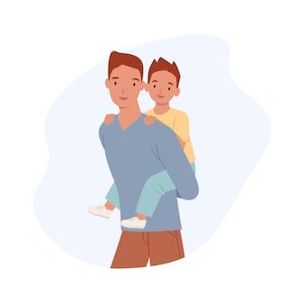 Szczęśliwego dnia ojca. tata z synem na przejażdżce na barana uśmiecha się razem szczęśliwy. radosny ojciec bawi się ze swoim małym dzieckiem. ilustracja w stylu płaskiej
