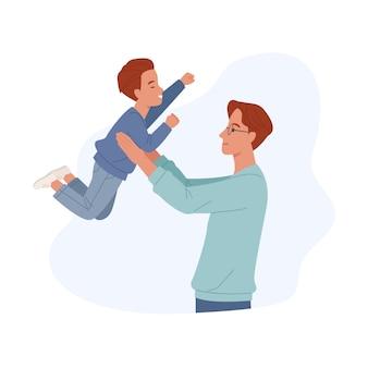 Szczęśliwego dnia ojca. uśmiechnięty tata trzyma syna. radosny ojciec bawi się ze swoim małym dzieckiem. ilustracja w stylu płaskiej