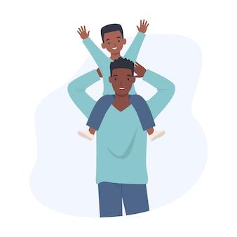 Szczęśliwego dnia ojca. wesoły syn siedzieć na ramieniu ojca. ilustracja w stylu płaskiej