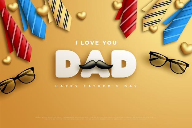 Szczęśliwego dnia ojca z kolorowymi krawatami.