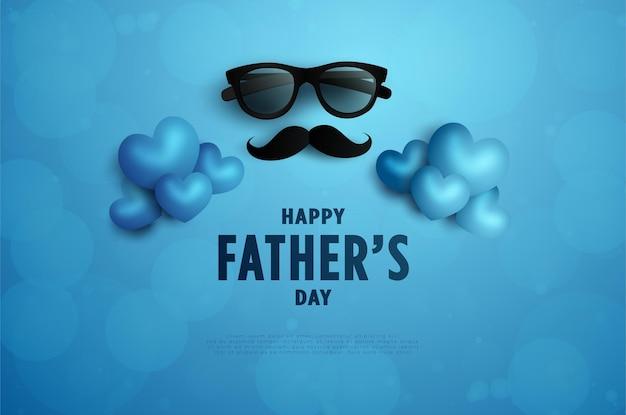 Szczęśliwego dnia ojca z wąsami i czarnymi okularami