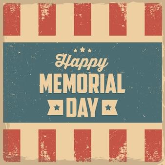 Szczęśliwego dnia pamięci. kartkę z życzeniami z flagą usa na tle.
