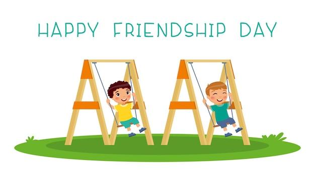 Szczęśliwego dnia przyjaźni. śliczni dwaj chłopcy huśtający się na huśtawce w publicznym parku lub przedszkolu. znajomi dzieci w wieku przedszkolnym bawić się razem na zewnątrz