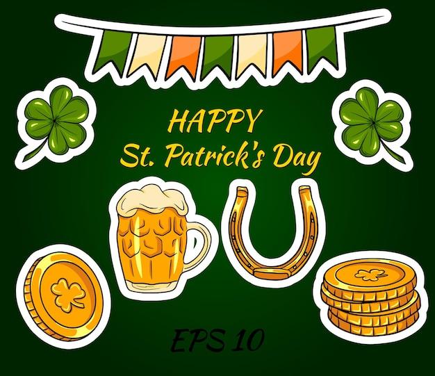 Szczęśliwego dnia świętego patryka z irlandzkimi ikonami i naklejkami.