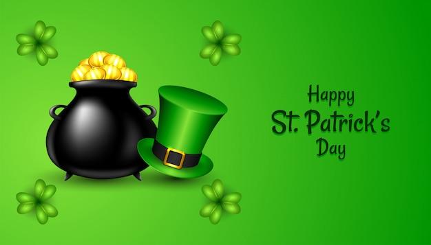 Szczęśliwego dnia świętego patryka z realistyczną zieloną czapką i koniczyną shamrock, czarną doniczką ze złotymi monetami na zielono