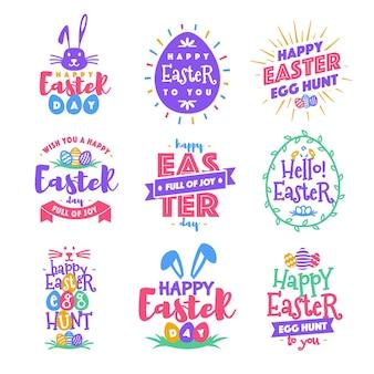 Szczęśliwego dnia wielkanocnego godło ustawić kolorowy styl typografii dla szablonów tekstowych kart okolicznościowych