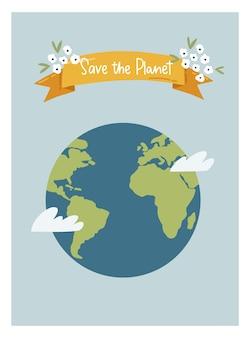 Szczęśliwego dnia ziemi. zapisz planetę ilustracja wektorowa ekologicznego plakatu społecznego, banera lub karty na temat ratowania planety. zrób codzienny dzień ziemi