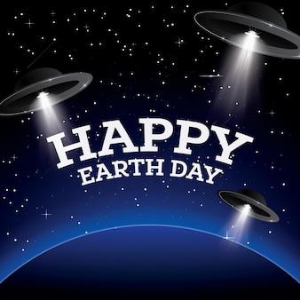 Szczęśliwego dnia ziemi. ziemia z gwiazdami i ufo. przestrzeń. ilustracja wektorowa.