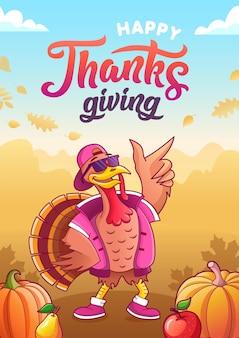 Szczęśliwego dziękczynienia. kartka z życzeniami. fajny kreskówka indyk w okularach przeciwsłonecznych i czapce. dynie, jabłko, gruszka