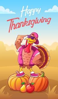 Szczęśliwego dziękczynienia kartka z życzeniami fajny kreskówka indyk w okularach przeciwsłonecznych i czapce pozostający na dyniach